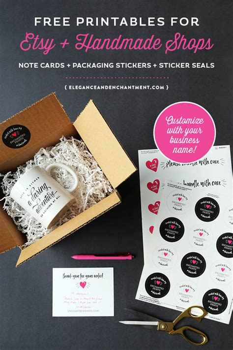 Handmade Shop Names - free printable packaging for etsy and handmade shop owners