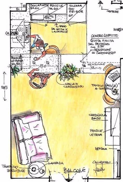 dividere cucina e soggiorno soggiorno e angolo cottura con divisorio in cartongesso