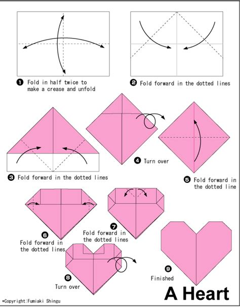 How To Make Origami Hearts - diagram
