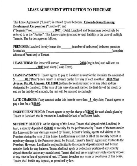 rent to own house contract form 6 rent to own home contract sles templates in pdf