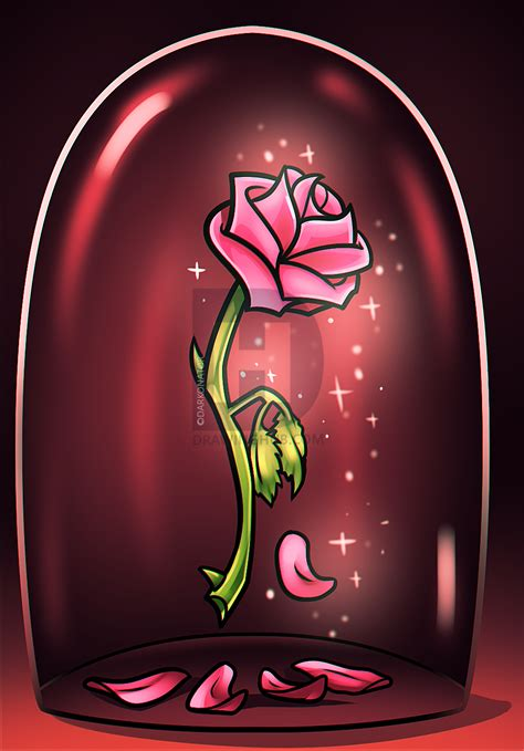 rose in beauty and the beast beauty and the beast rose drawing step by step by