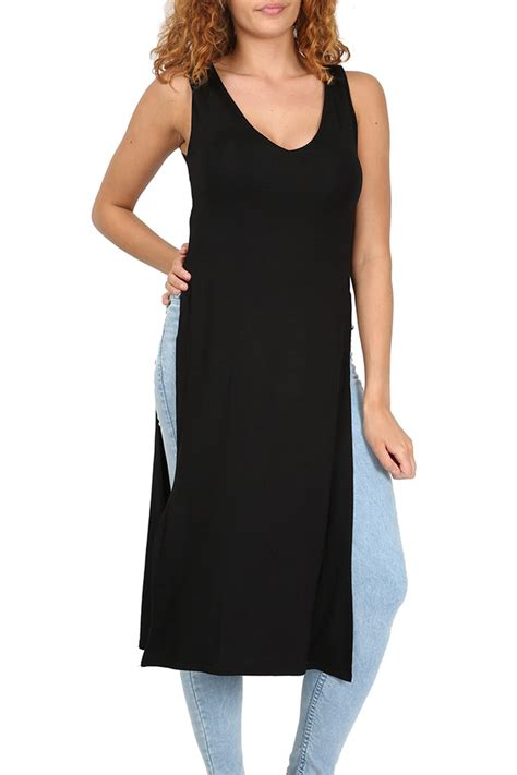 Midi Slit Tunik womens midi dress side slit v neck tunic waist high split top 8 22 ebay