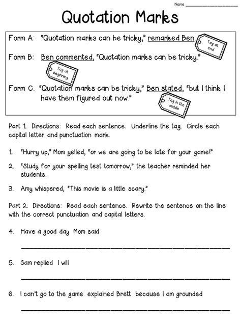 quotation worksheets grade 6 quotation marks anchor chart with freebie tpt free