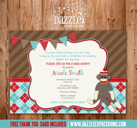 sock monkey baby shower invitation template sock monkey baby shower invitations sorepointrecords
