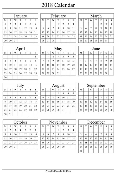 2018 excel calendar template download free printable excel templates