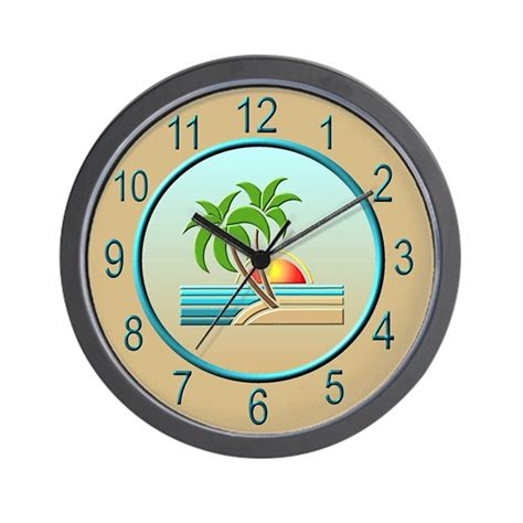 art deco wall clock roselawnlutheran art deco palm trees wall clock by jqdesigns
