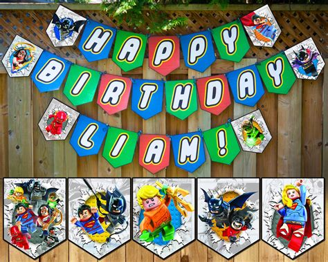 Lego Justice League Inspired Birthday Banner Instbirthday Lego Happy Birthday Banner Template