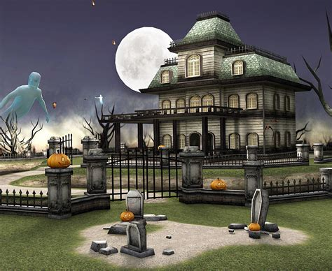haunted house cemetery  turbosquid