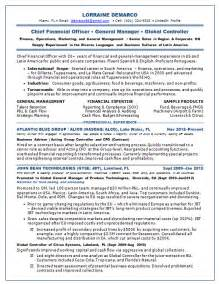 Cfo Resume Templates resume sles chief financial officer cfo consumer cpg