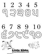 printable punjabi alphabet flash cards punjabi numbers little sikhs coloring fun pinterest