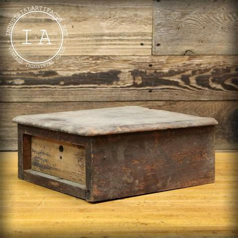 Vintage Rustic Wooden One Drawer Jewelry Box ? Industrial