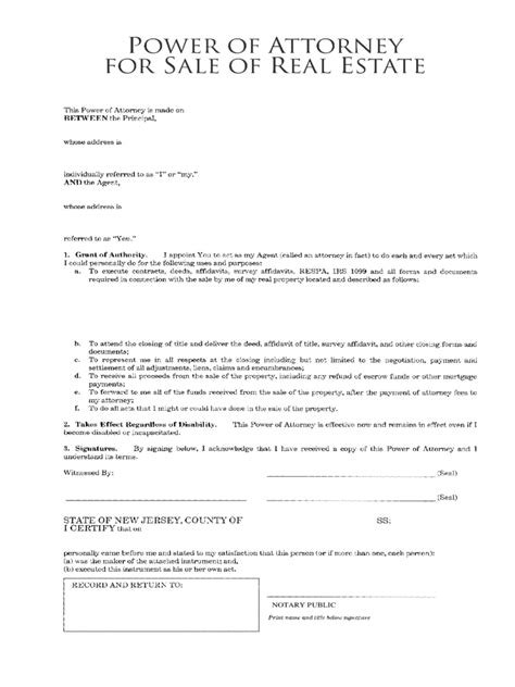 sle of power of attorney real estate power of attorney form 7 free templates in