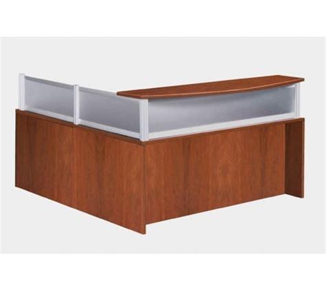 reversible l shaped desk reversible l shape cherry reception desk with plexi
