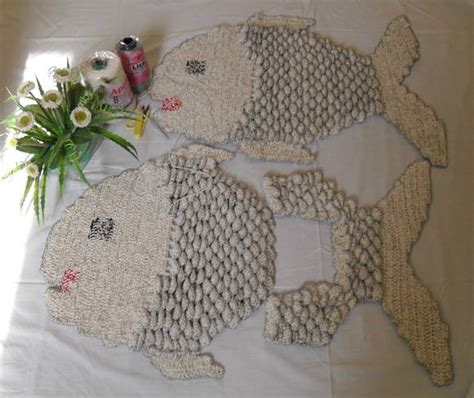 jogo de almofada de barbante tapetes de croch 234 em barbante quot peixe quot tapetes artesanais