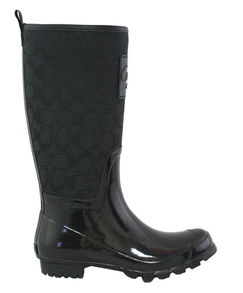 couch rain boots coach signature pearl black logo and rubber rain boots 9 new
