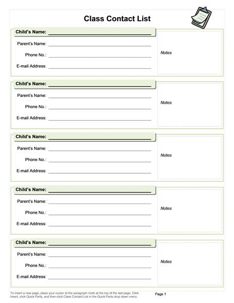 Class Contact List And Other Useful Templates Classroom