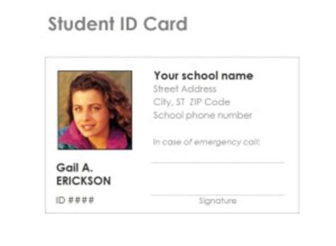 Student Biography Card Template by Student Identification Card Template