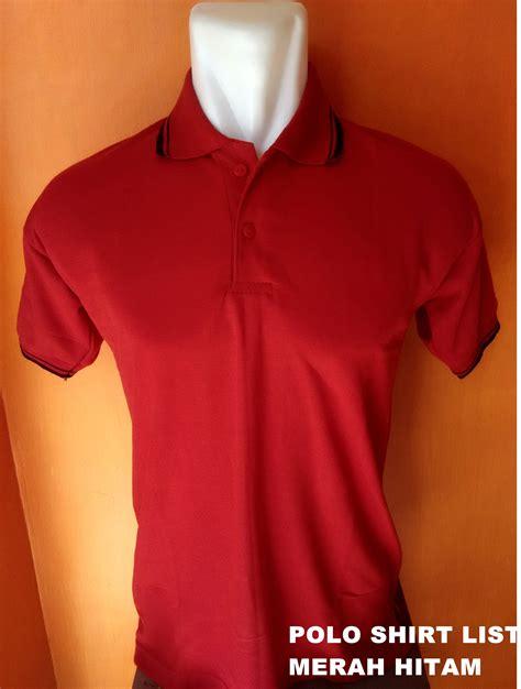 jual polo shirt merah list baju kaos berkerah t shirt kerah cowok edoeyy clothing