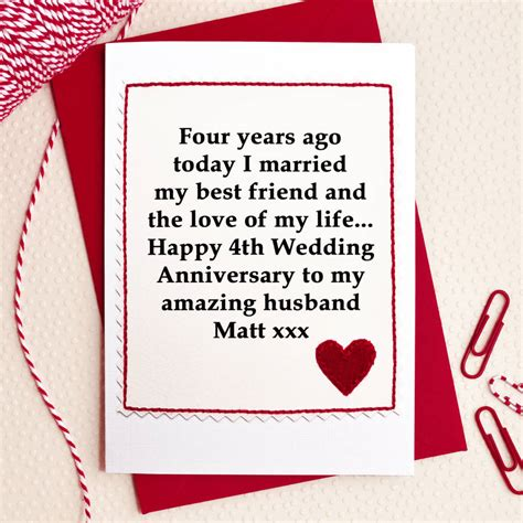 10th Wedding Anniversary Card Husband by Personalised 4th Wedding Anniversary Card By Arnott