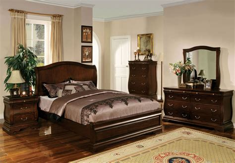 Walnut Bedroom Furniture Esperia Walnut Platform Bedroom Set Cm7503q Bed Furniture Of America