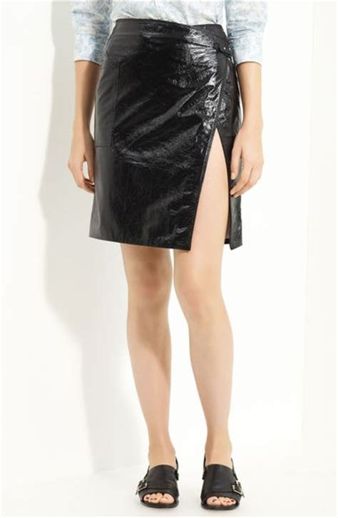 boy by band of outsiders patent leather skirt in black lyst