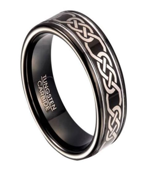 black tungsten wedding band for with celtic knot design