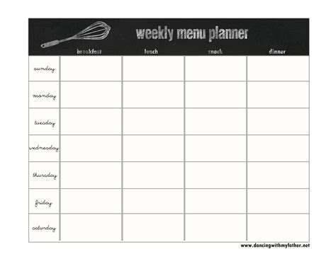 monthly food menu template free chalkboard menu planner from with my