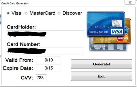 Credit Card Template Generator by Credit Card Verification Generator