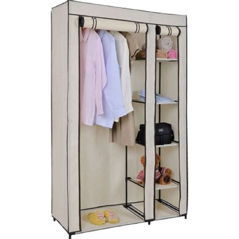 clothes cupboard vinsani double canvas wardrobe clothes cupboard hanging