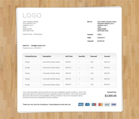 html invoice template free download invoice exle