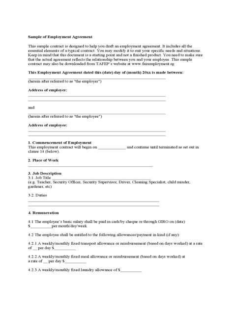Free Employment Agreement Template by Employment Agreement Form 8 Free Templates In Pdf Word