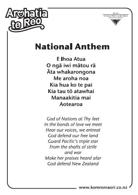Antem Kupu national anthem korero speak maori 7 new zealand