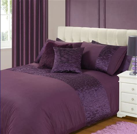 Purple Duvets aubergine purple colour stylish crinkle textured faux silk duvet cover luxury beautiful bedding