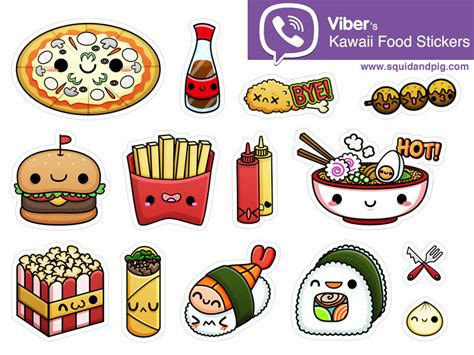 kawaii doodle class sketching tacos sushi clouds flowers monsters cosmetics and more kawaii food stickers for viber 01 by squid pig dribbble