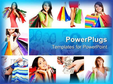 Powerpoint Template Collage Of Smiling Women Carrying Shopping Ppt Templates Free