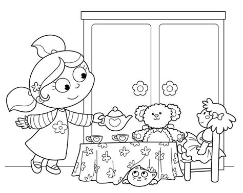 tea party coloring page coloring pinterest coloring