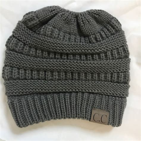 knitting letters into a hat cc letter ponytail cap knitting hat for grey