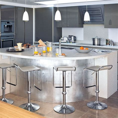 curved island kitchen designs metallic curved island