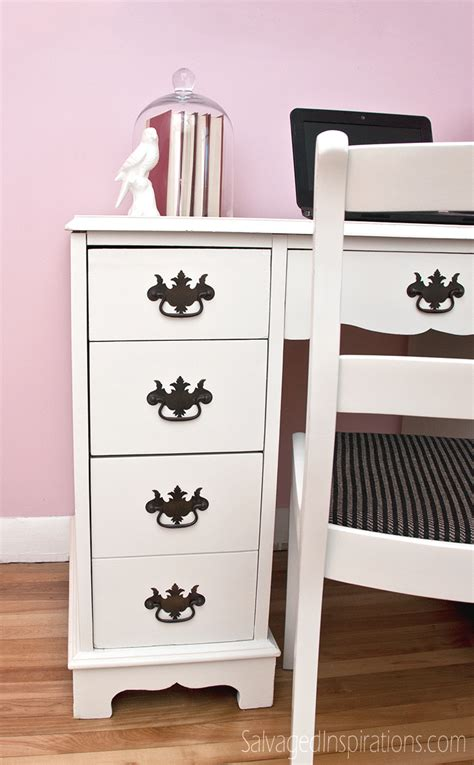 white painted desk painting furniture salvaged inspirations part 2