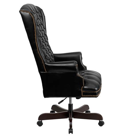 high back tufted office chair high back traditional tufted black leather executive