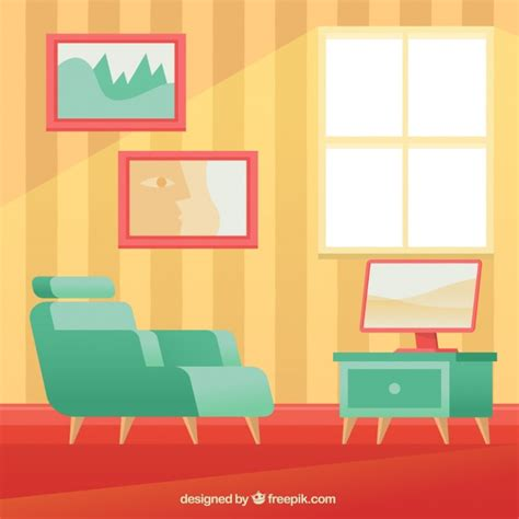 tv armchair armchair and tv in house interior vector free download
