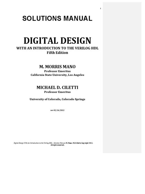 Pdf Digital Filmmaking Handbook 5th by Digital Design 5th Edition Mano Solution Manual Pdf