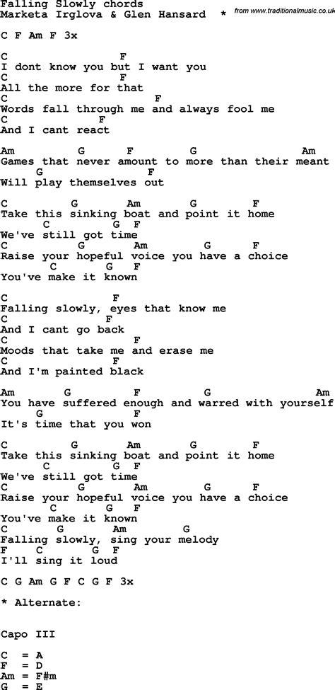 Falling Slowly Chords