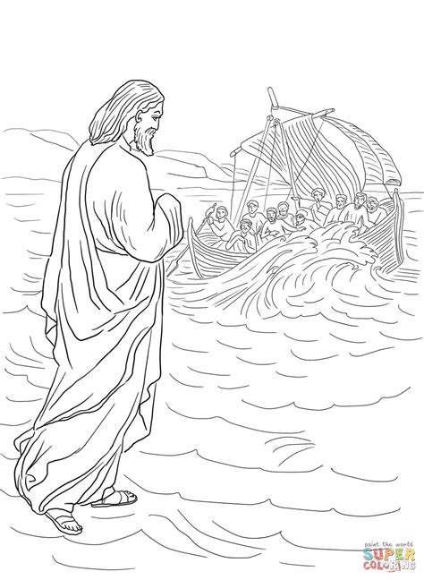 coloring pages for jesus walking on water jesus walking on the water coloring page free printable