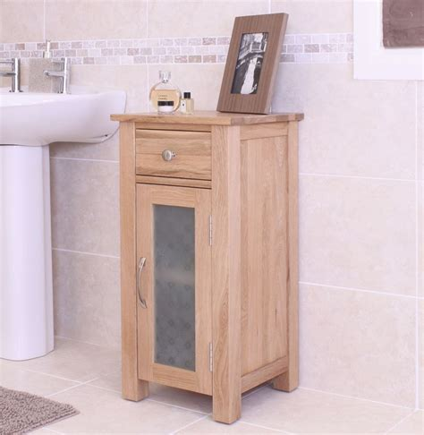 Solid Oak Bathroom Furniture Nara Small Cabinet Glazed Storage Unit Solid Oak Bathroom Furniture Ebay