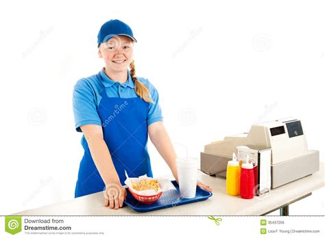 cashier serves fast food royalty free stock image