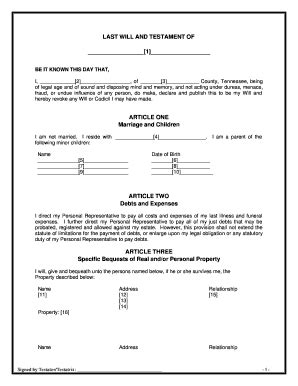 Bill Of Sale Form Tennessee Last Will And Testament Form Templates Fillable Printable Last Will And Testament Free Template Tennessee