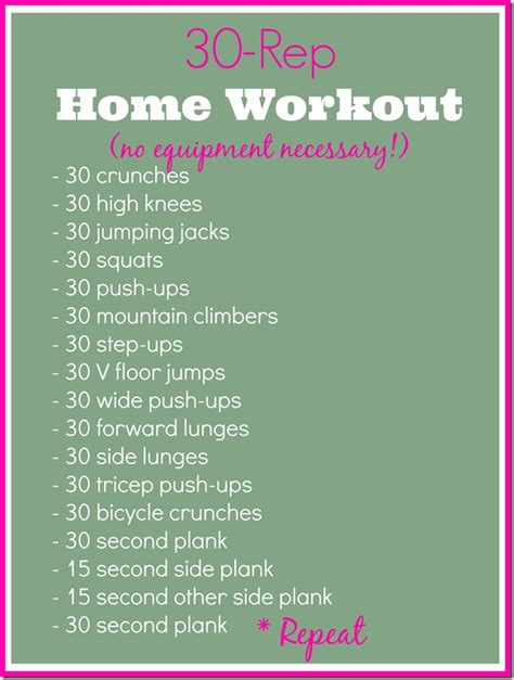 Home Workouts For by Guest Post 30 Rep Home Workout The Seasoned