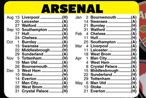 epl arsenal fixtures arsenal s premier league fixtures 2016 17 tough start for
