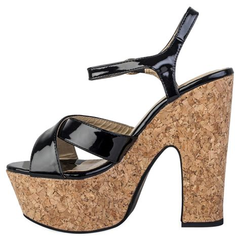 cork high heels womens black shiny cork high heel chunky platform